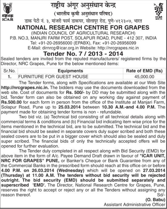 Furniture for guest house (National Research Centre for Grapes (NRCG))