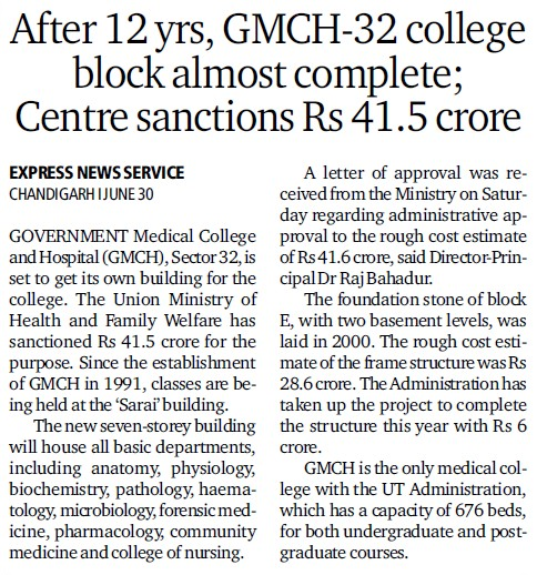 College block almost complete, Centre sanctions Rs 41.5 Cr (Government Medical College and Hospital (Sector 32))
