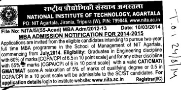 MBA through CAT (National Institute of Technology NIT)