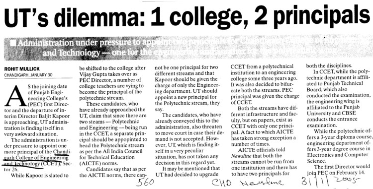 UTs dilemma, 1 college and 2 principal (Chandigarh College of Engineering and Technology (CCET))