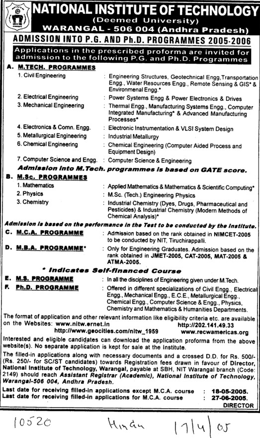 M Tech, MBA and MCA (National Institute of Technology NIT)