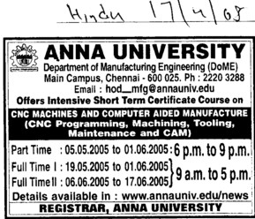 Certificate Course in Machining and Tooling (Anna University)