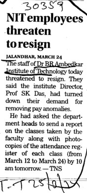 NIT employees threaten to resign (Dr BR Ambedkar National Institute of Technology (NIT))