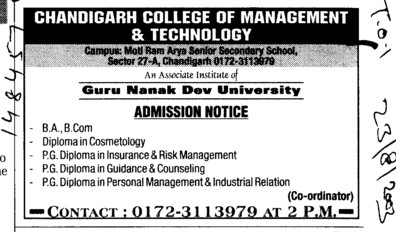 Diploma in Cosmetology (Chandigarh College of Management and Technology (CCMT))