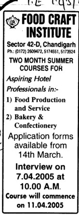 Summer Course in Food Production and Services (Food Craft Institute)