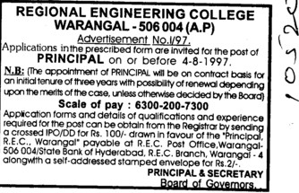 Experienced Principal (National Institute of Technology NIT)