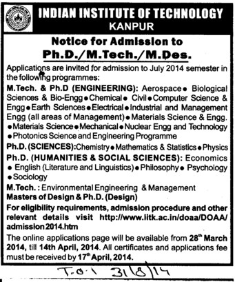PhD and M tech Courses (Indian Institute of Technology (IITK))