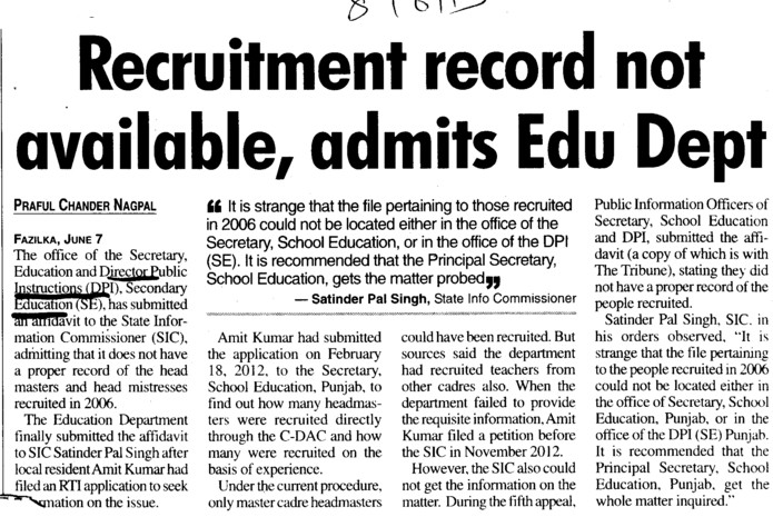 Recruitment record not available, admits Edu Dept (DPI Senior Secondary Punjab)