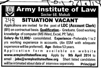 Accounts Clerk on contract basis (Army Institute of Law)