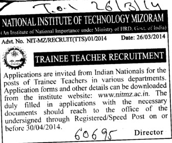 Trainee Teacher (National Institute of Technology (NIT))
