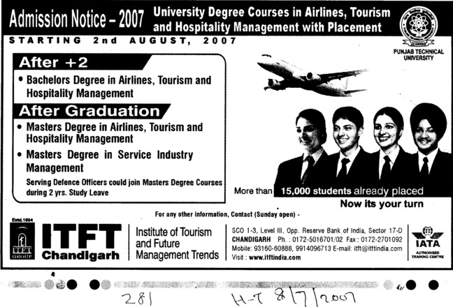 Master Degree in Airlines (ITFT-Institute of Tourism and Future Management Trends)