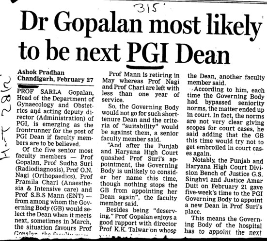 Dr Gopalan most likely to be next PGI Dean (Post-Graduate Institute of Medical Education and Research (PGIMER))