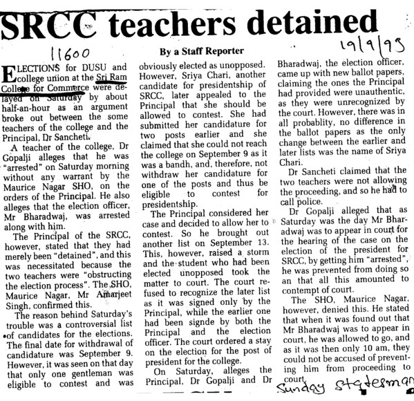 SRCC teachers detained (Shri Ram College of Commerce)