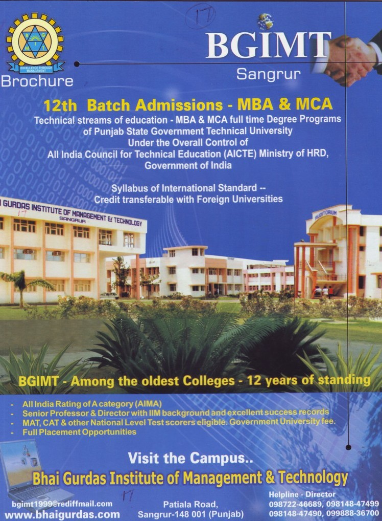 MBA and MCA Courses (Bhai Gurdas Institute of Management and Technology (BGIMT))
