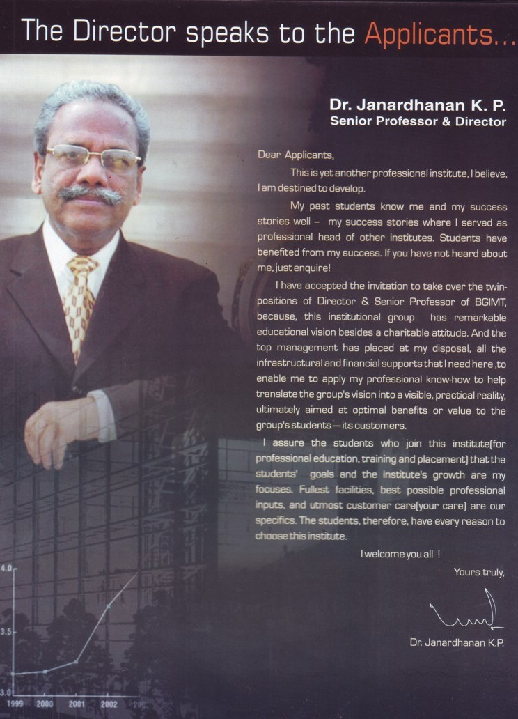 Message of Director Dr janardhanan KP (Bhai Gurdas Institute of Management and Technology (BGIMT))
