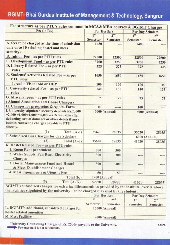 Fee Structure of BGIMT (Bhai Gurdas Institute of Management and Technology (BGIMT))