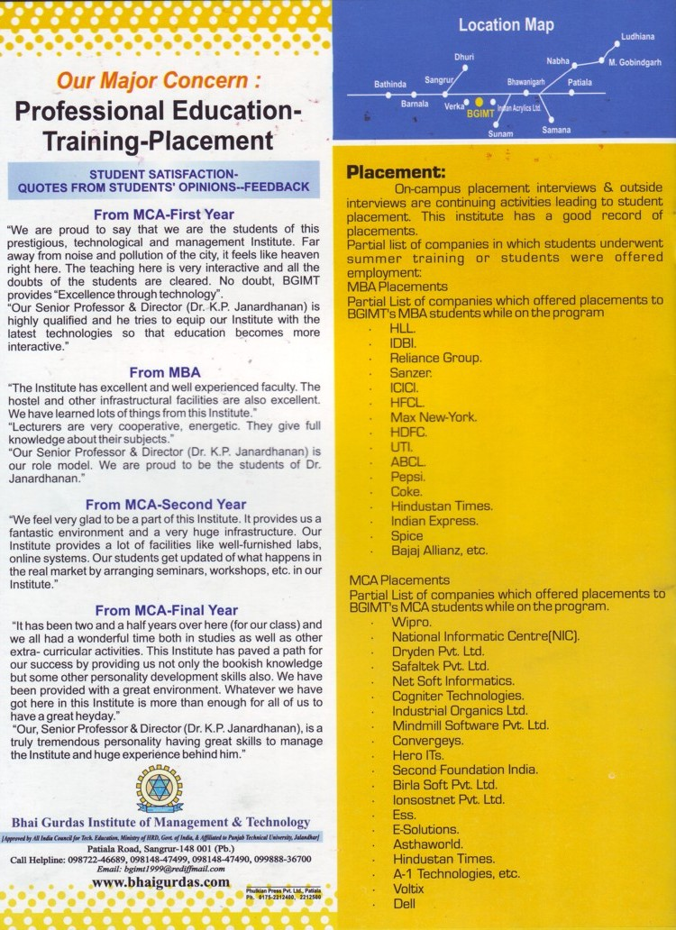 Professional Education and TnP (Bhai Gurdas Institute of Management and Technology (BGIMT))