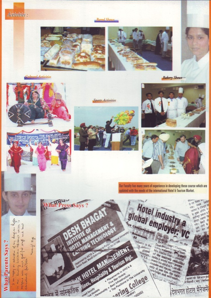 Activities in BGIMT (Desh Bhagat Institute of Hotel Management and Catering Technology)