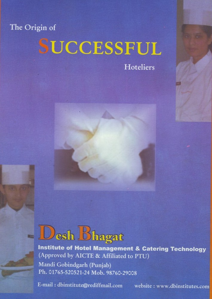 Origin of Successful Hoteliers (Desh Bhagat Institute of Hotel Management and Catering Technology)