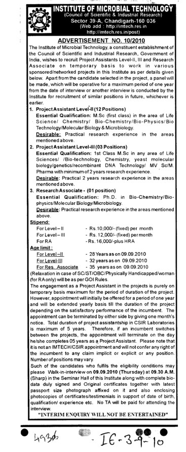 Research Associate (Institute of Microbial Technology (IMTECH))