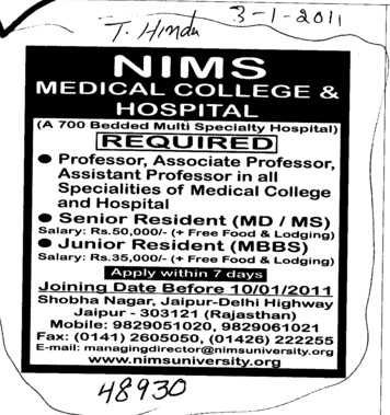 Senior and Junior resident (NIMS University)