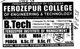 B Tech, BBA and BCA (Ferozepur College of Engineering and Technology)