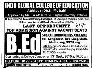 B Ed course (Indo Global College of Engineering)