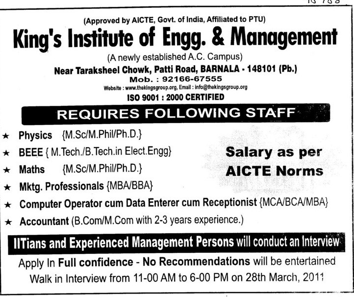 Accountant and Mktg Professionals (Kings Group of Institutions)