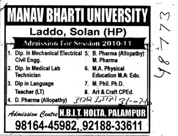 Diploma in Mechanical Engg (Manav Bharti University (MBU))