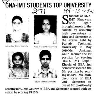 GNA IMT students top university (GNA Institute of Management and Technology)