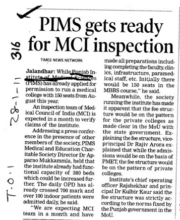 PIMS gets ready for MCI inspection (Punjab Institute of Medical Sciences (PIMS))