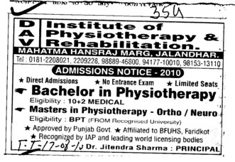 BPT and MPT (DAV Institute of Physiotherapy and Rehabilitation)