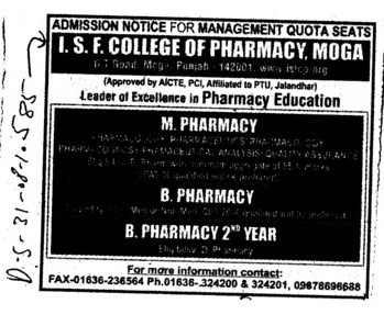 B Pharmacy and M Pharmacy (ISF College of Pharmacy)
