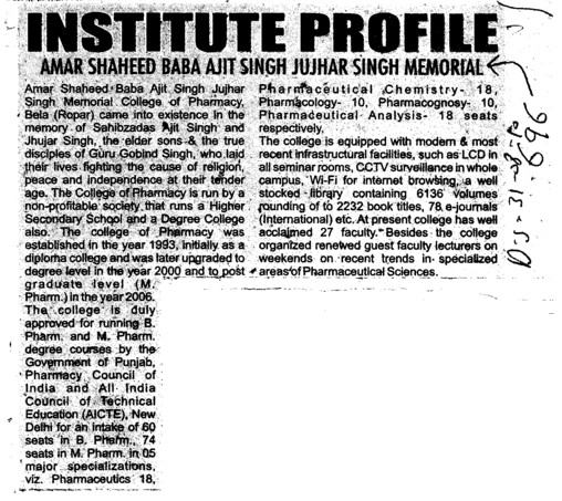 Profile of ASBASJSm (Amar Shaheed Baba Ajit Singh Jujhar Singh Memorial College of Pharmacy ASBASJSM Bela)