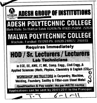 HoD and Lecturers (Adesh Group of Institutions)