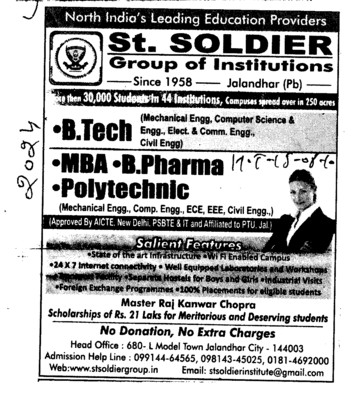 B Tech and MBA (St Soldier Group)