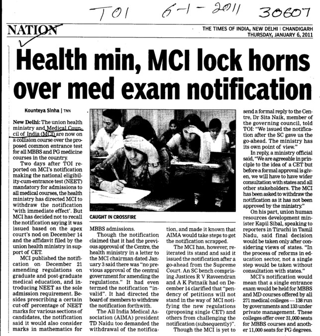 Health min, MCI lock horns over med exam notification (Medical Council of India (MCI))