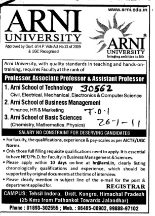 Asstt and Associate Professor (Arni University Kathgarh)