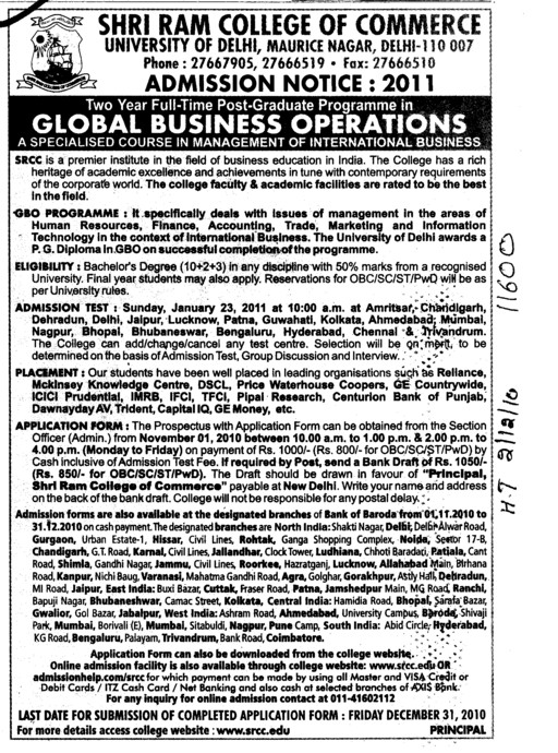 PGP in Global Business Operation (Shri Ram College of Commerce)