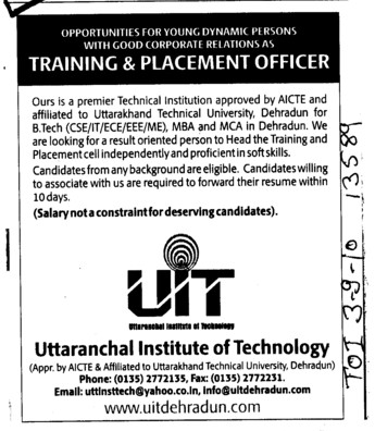 Training and Placement Officer (Uttaranchal Institute of Technology (UIT))