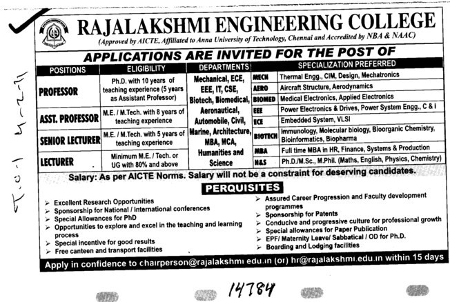 Asstt Professor and Senior Lecturer (Rajalakshmi Engineering College)