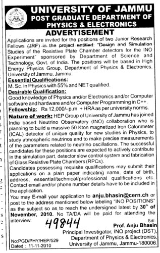 Junior Research Fellow (Jammu University)