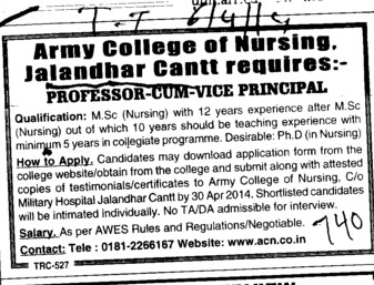 MSc Nursing Course (Army College of Nursing)