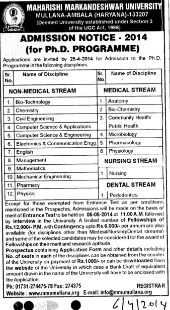 PhD in Bio Technology (Maharishi Markandeshwar University)