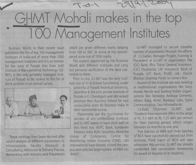 GJIMT Mohali makes in the top 100 Management Institutes (Gian Jyoti Institute of Management and Technology (GJIMT))