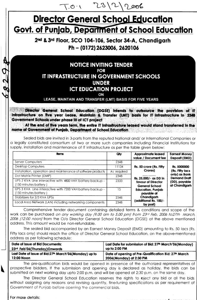 Tender for ICT Education Project (Director General School Education DGSE Punjab)