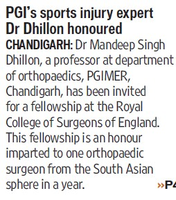 PGIs sports injury expert Dr Dhillon honoured (Post-Graduate Institute of Medical Education and Research (PGIMER))