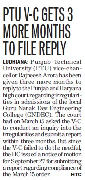 PTU VC gets 3 more months to file reply (Punjab Technical University PTU)