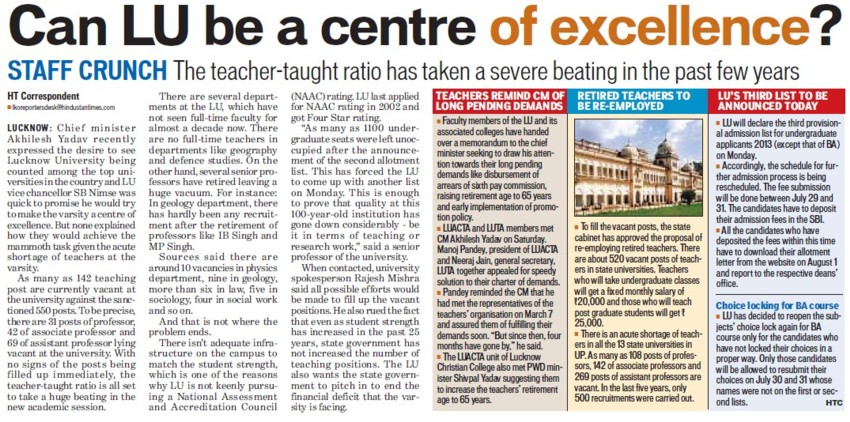 Can LU be centre of ecellence (Lucknow University)