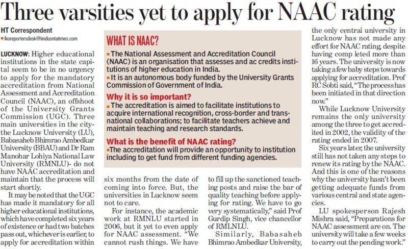 Three varsities yet to apply for NAAC rating (University Grants Commission (UGC))